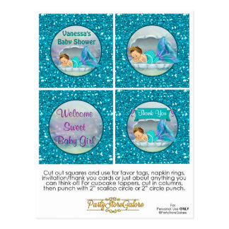 Mermaid Baby Shower Cupcake Topper Favor Tags 130 Postcard