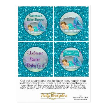 Toddler & Baby themed Mermaid Baby Shower Cupcake Topper Favor Tags 130 Postcard