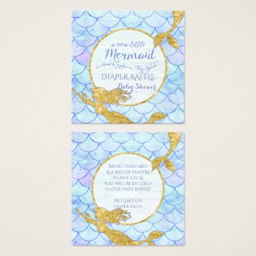 Beach Themed Mermaid Baby Shower Diaper Raffle Gold Glitter Square Business Card