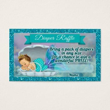 Beach Themed Mermaid Baby Shower Diaper Raffle Tickets #130