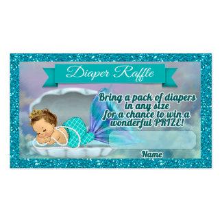 Mermaid Baby Shower Diaper Raffle Tickets #130 Business Card