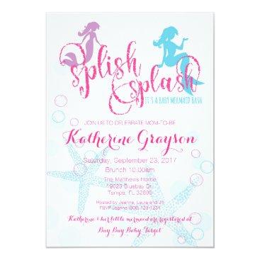 Beach Themed Mermaid Baby Shower Invitation