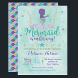 "Mermaid Baby Shower Invitation<br><div class=""desc"">A little mermaid is on the way,  let&#39;s help mommy get ready for her big day! This purple,  teal and gold mermaid invite is perfect for your baby shower!</div>"