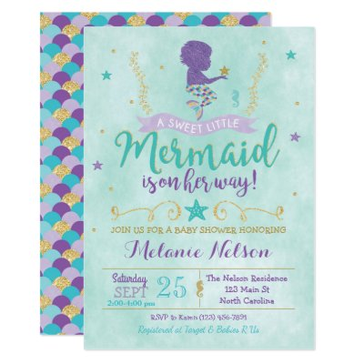 Awesome Mermaid Baby Shower Bring A Book Purple Gold Card | Zazzle.com