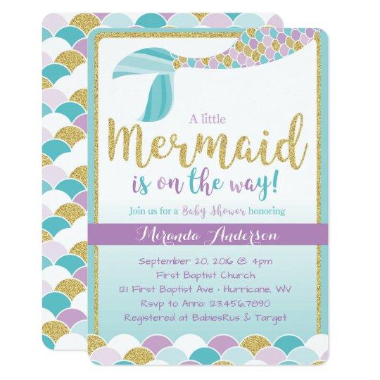 Mermaid Baby Shower Invitation Zazzlecom