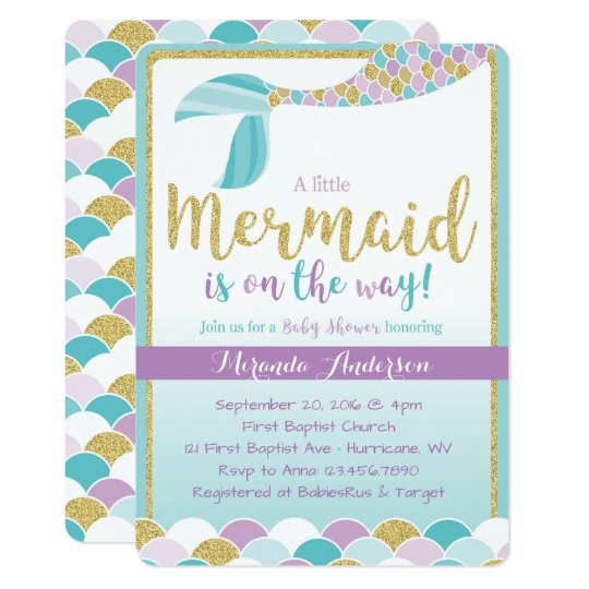 mermaid baby shower invitation zazzle com
