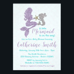 "Mermaid Baby Shower Invitation Lavender and Teal<br><div class=""desc"">Adorable mother and child faux glitter baby shower invitation. Perfect to personalize for your under the sea themed shower!</div>"