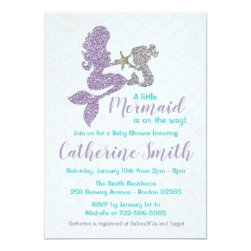 BellissimaPaperie Mermaid Baby Shower Invitation Lavender and Teal
