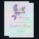 """Mermaid baby Shower invitation Lavender Gold Teal<br><div class=""""desc"""">Planning a mermaid themed party? This is the perfect mermaid baby shower invitation for your party. Glitter Mother and child mermaid&#39;s with a pastel lavender,  teal and gold background.</div>"""
