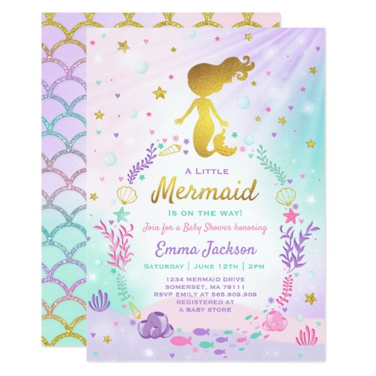 Mermaid baby shower invitation little mermaid baby zazzle mermaid baby shower invitation little mermaid baby filmwisefo