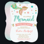 """Mermaid Baby Shower Invitation Little Mermaid Baby<br><div class=""""desc"""">Mermaid baby shower invitation Coral Teal and Gold under the sea party invitation. A perfect Way to announce your under the sea Mermaid Baby Shower. All design are  &#169; PIXELPERFECTIONPARTYLTD</div>"""