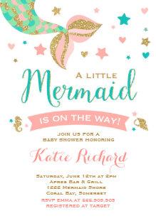 Mermaid baby shower invitations announcements zazzle mermaid baby shower invitation little mermaid baby filmwisefo