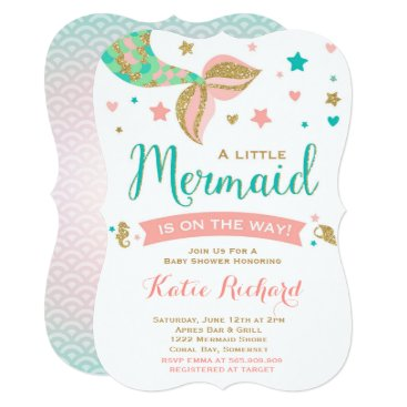 Toddler & Baby themed Mermaid Baby Shower Invitation Little Mermaid Baby
