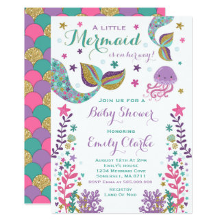 Mermaid Baby Shower Invitation Pink Gold Shower