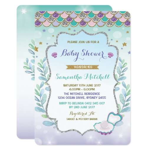Mermaid Baby Shower Invitation Purple Gold Ocean
