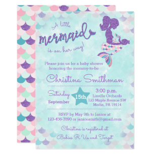 Mermaid baby shower invitations zazzle mermaid baby shower invitations for a baby girl filmwisefo