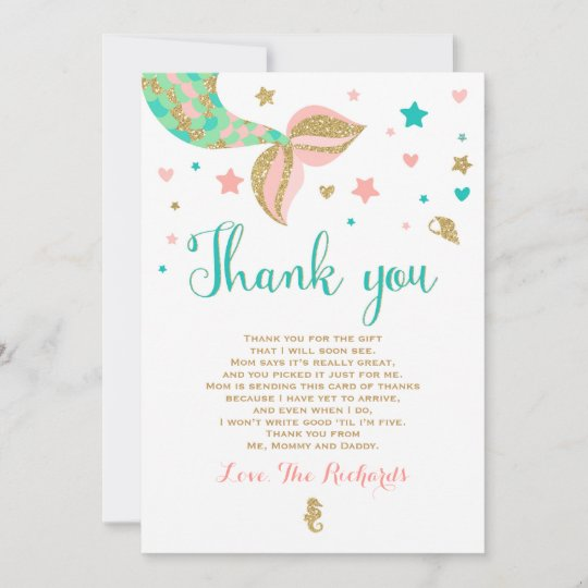 Mermaid Baby Shower Thank You Card Mermaid Baby Zazzle Com