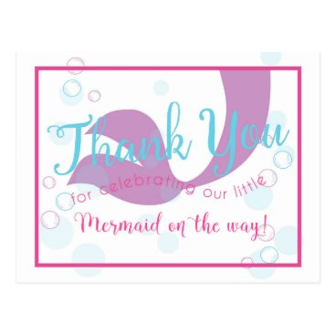 Beach Themed Mermaid Baby Shower Thank You Note Card