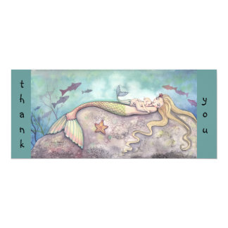Mermaid Baby Shower Thank You Notes 4x9.25 Paper Invitation Card