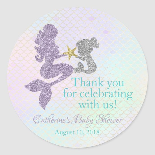 Mermaid Baby Shower Thank You Stickers Party Favor Zazzle Com