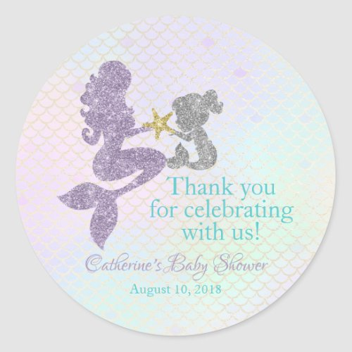 Mermaid Baby Shower thank you stickers party favor