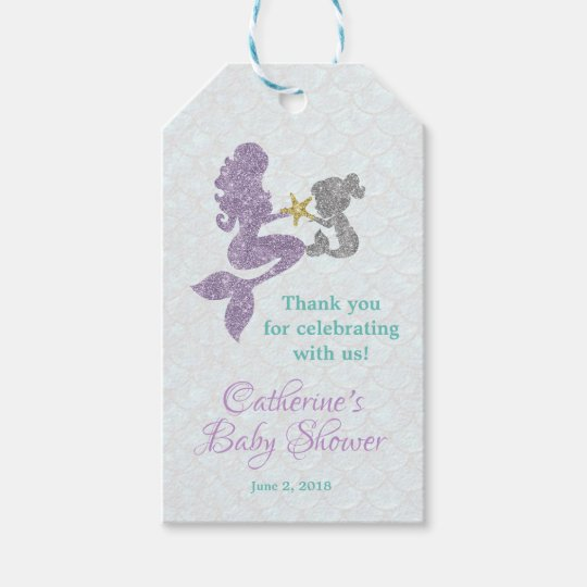 Mermaid Baby Shower Thank You Tags Favor Tags Zazzle
