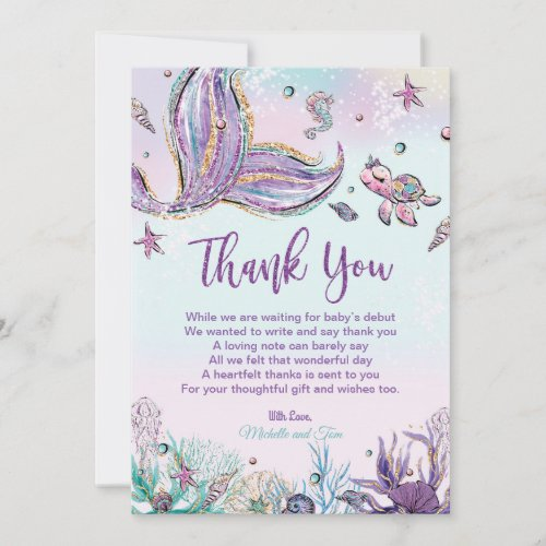 Mermaid Baby Shower Under the Sea Thank You Card