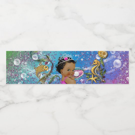 Mermaid Baby Shower Water Bottle Labels Zazzle Com