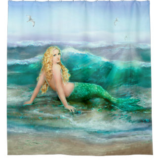 Mermaid Basking on Shore of Aqua Blue Sea Shower Curtain