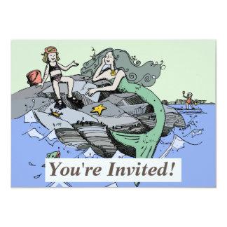 Mermaid Beach Cartoon Drawing Card