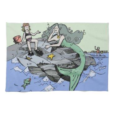 Beach Themed Mermaid Beach Cartoon Drawing Kitchen Towel