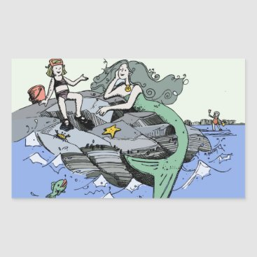 Beach Themed Mermaid Beach Cartoon Drawing Rectangular Sticker