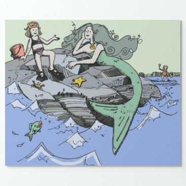 Beach Themed Mermaid Beach Drawing Cartoon Wrapping Paper