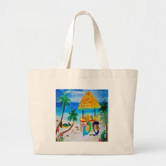 Mermaid Beach Tiki Bar Art Canvas Bags