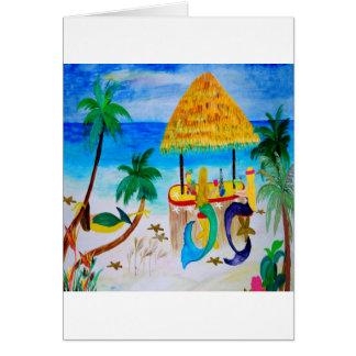 Mermaid Beach Tiki Bar Art Cards