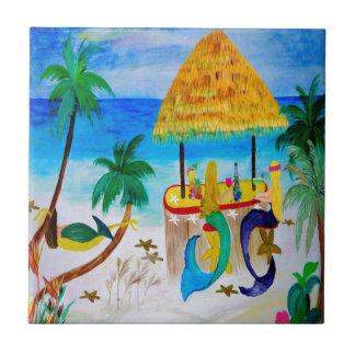 Mermaid Beach Tiki Bar Art Ceramic Tile