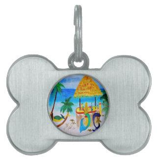 Mermaid Beach Tiki Bar Art Pet ID Tags