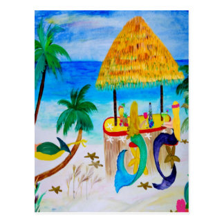 Mermaid Beach Tiki Bar Art Postcard