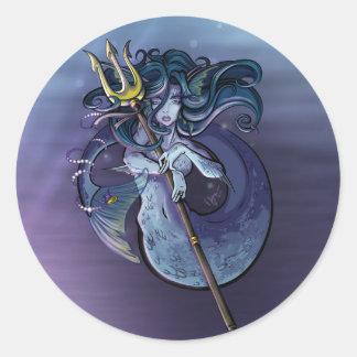 Mermaid Beautiful Art Illustration Classic Round Sticker