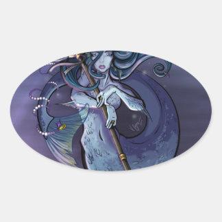 Mermaid Beautiful Art Illustration Oval Sticker