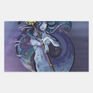 Mermaid Beautiful Art Illustration Rectangular Sticker