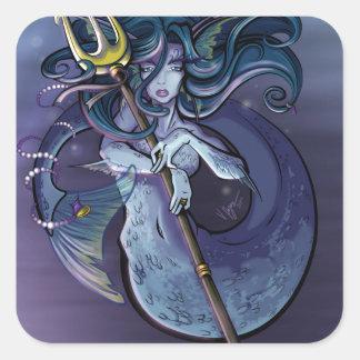 Mermaid Beautiful Art Illustration Square Sticker