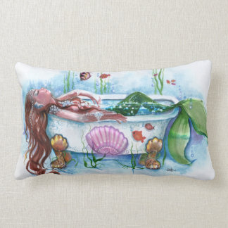Mermaid Beauty in the Bath tub Lumbar Pillow