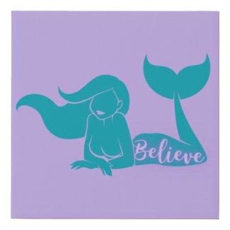 "Mermaid ""Believe"" Wrapped Canvas Art"