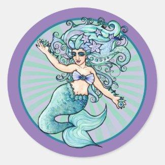 Mermaid belly dancer classic round sticker