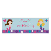 Mermaid Birthday Banner Poster