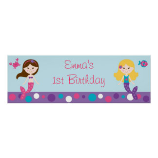 Mermaid Birthday Banner Poster