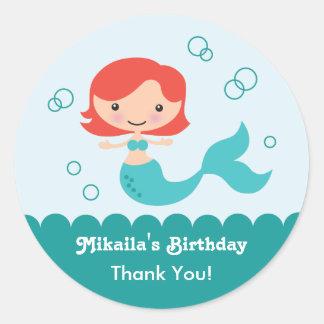 Mermaid Birthday Favor Sticker