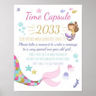 Mermaid Birthday guestbook Time Capsule sign Girl