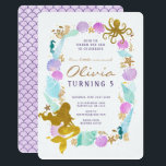 """Mermaid Birthday Invitation<br><div class=""""desc"""">Splash into your next birthday party with this adorable mermaid birthday invitation. Framed with shells in purple and turquoise. Gold foil mermaid,  octopus,  starfish,  seahorse,  shells,  seaweed,  coral and more!</div>"""